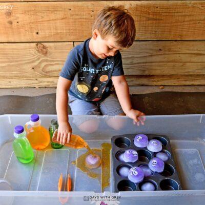 preschool Halloween water table