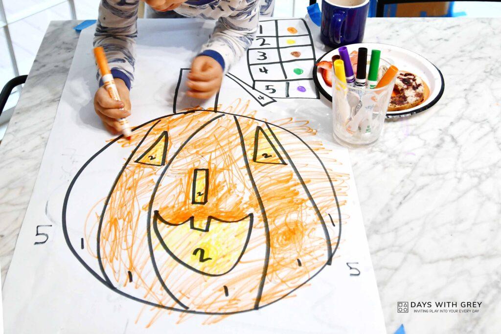 jack o lantern color by number