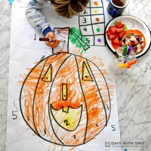 Preschool Color by Number for Halloween